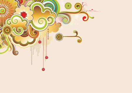 denominado retro: Vector illustration of urban retro styled design made of floral and ornamental elements.