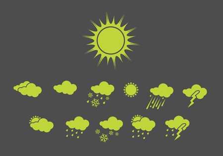 Vector illustration – set of elegant Weather Icons for all types of weather Stock Vector - 3985859