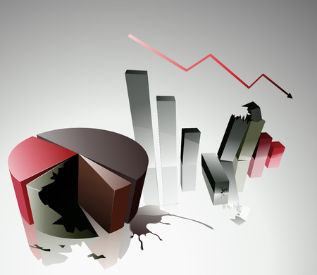 Vector illustration Concept of a financial crisis with bar and pie chart Vector