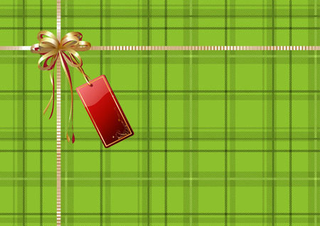 scot: Vector illustration of green Scottish plaid gift wrapping with golden ribbon, bow and red empty tag