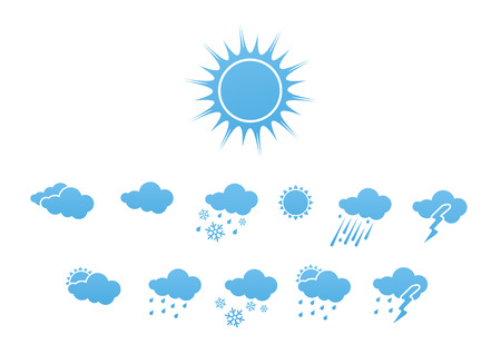 Vector illustration – set of elegant Weather Icons for all types of weather Stock Vector - 3985860