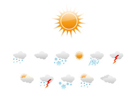 Vector illustration – set of elegant Weather Icons for all types of weather Stock Vector - 3985924