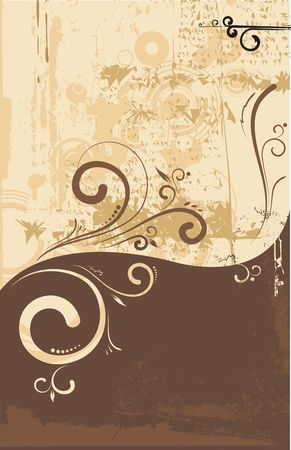 Vector illustration of floral  swirly  ornament    on urban grunge background illustration
