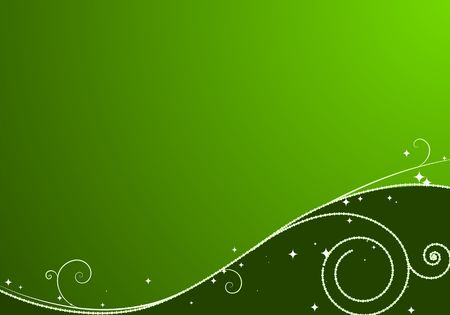 Green Christmas background: composition of curved lines and snowflakes - great for backgrounds, or layering over other images photo