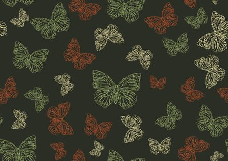 simplicity: Vector illustration of many funky hand-drawn butterflies of different size  flying around  . Seamless Pattern.
