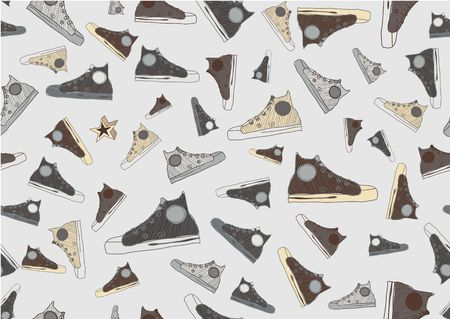 Seamless Pattern made of cool hand-drawn sport shoes in retro style. Vector illustration. illustration
