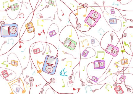 Retro Seamless Pattern made of cool hand-drawn mp3 players in different colors. Vector illustration illustration