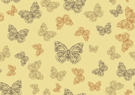 Vector illustration of many funky hand-drawn butterflies of different size  flying around  . Seamless Pattern. illustration