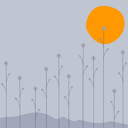 Vector illustration of   the moon is going down over the night  flowers on grey background illustration