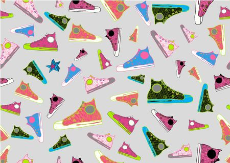 Retro Seamless Pattern made of cool hand-drawn sport shoes in different colors. Vector illustration illustration