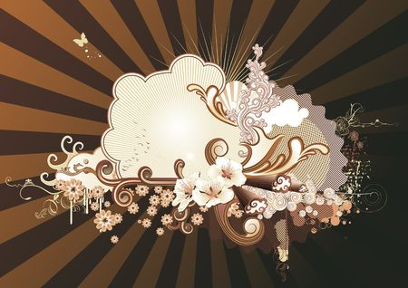 Vector illustration of urban retro styled background made of floral and ornamental elements. Stock Illustration - 3985968