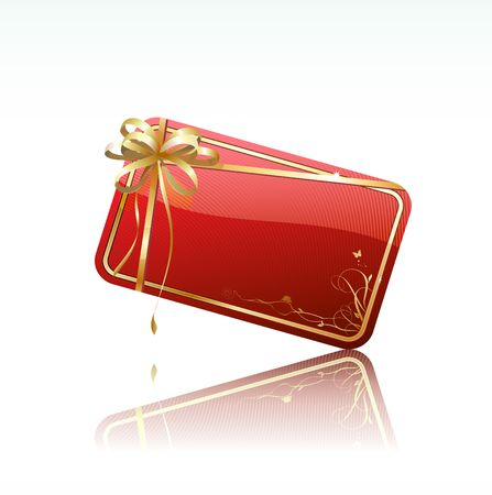 Vector illustration of red decorated gift card with golden ribbon and bow