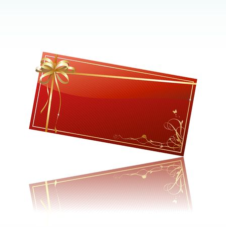 Vector illustration of red decorated gift card with golden ribbon and bow illustration