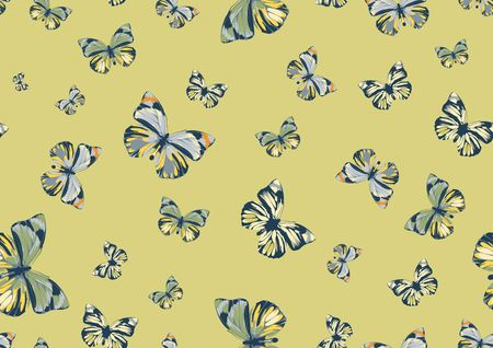 Vector illustration of many funky butterflies of different colors flying around. Seamless Pattern. illustration