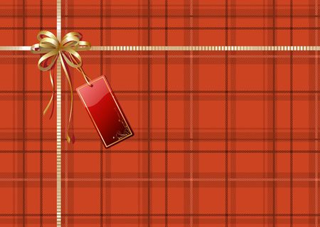 Vector illustration of Scottish plaid gift wrapping with golden ribbon, bow and red empty tag illustration