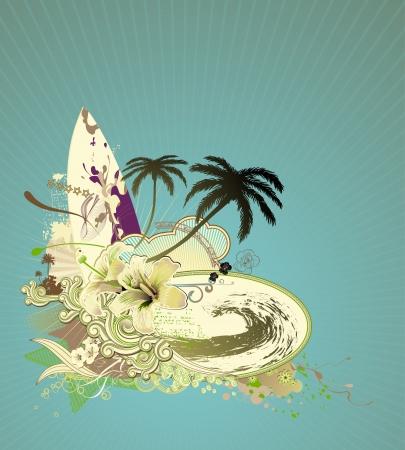 granola: Ilustraci�n vectorial de grunge con la composici�n de Surf Junta sobre vigas Domingo, gran ola, hibisco, palmeras y rizado silueta retro rayas Foto de archivo