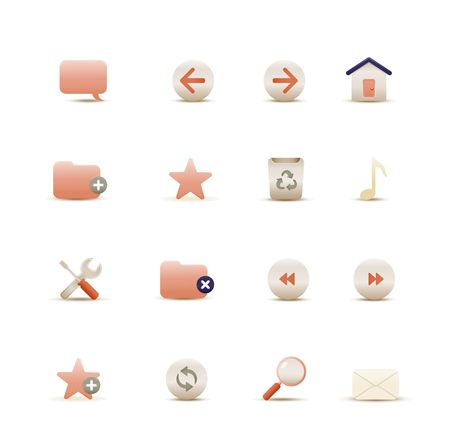 Vector illustration � set of elegant  simple icons for common internet functions Stock Illustration - 4031511
