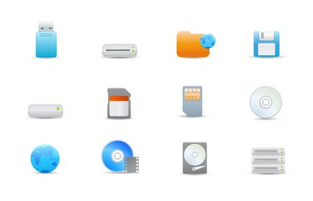 Vector illustration � set of elegant simple icons for common storage devices illustration