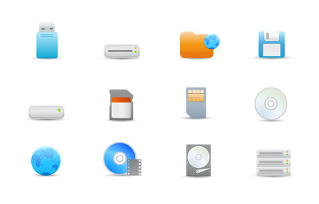 storage device: Vector illustration � set of elegant simple icons for common storage devices