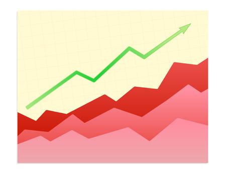 financials: Vector illustration - Shiny  graph of success trend Illustration