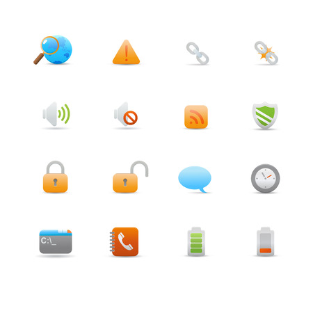 Vector illustration � set of elegant  simple icons for common computer functions Stock Vector - 4907027