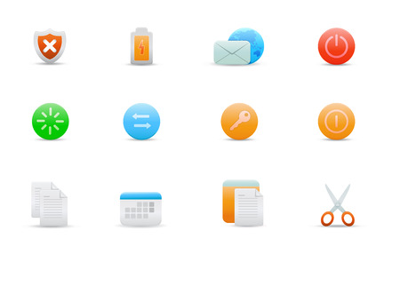 Vector illustration – set of elegant simple icons for common computer functions Stock Vector - 4907021