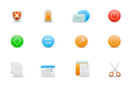 cut logs: Vector illustration conjunto de elegantes iconos simples para las funciones de ordenador com�n Vectores