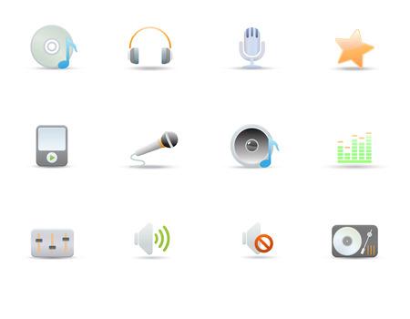 Vector illustration – set of elegant simple icons for common digital music media Vector