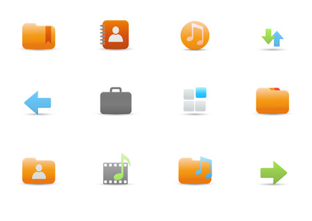 Vector illustration � set of elegant simple icons for common computer and media devices functions Vector