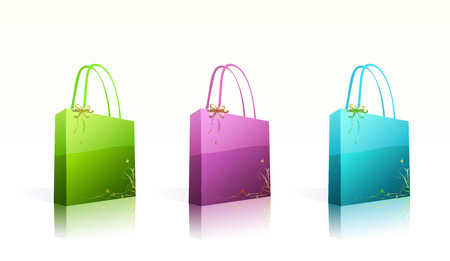 Vector illustration set of shiny shopping bags  in different colors with floral decoration elements Illustration