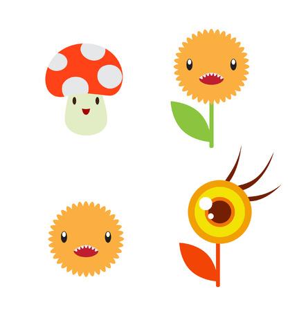 Vector illustration. Set of funny cartoon icons Vector