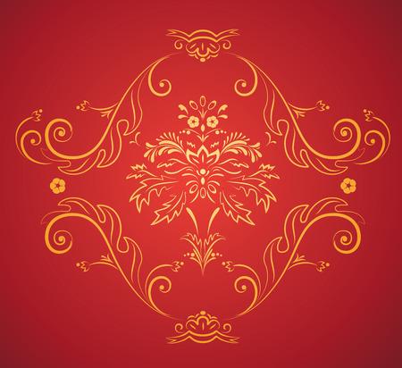 Vector illustration of red elegant Victorian retro motif wallpaper Pattern Stock Vector - 4907087