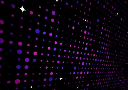 Vector illustratie van disco lichten puntjes patroon op zwarte achtergrond
