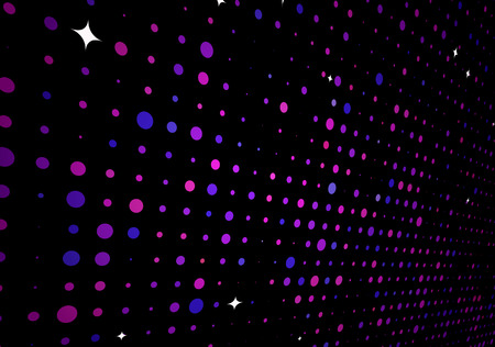 Vector illustration of disco lights dots pattern on black background Vector