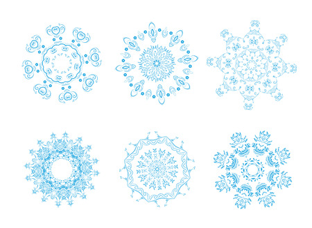Vector illustration of icon set of 6 different snowflakes. Set-1 Vector