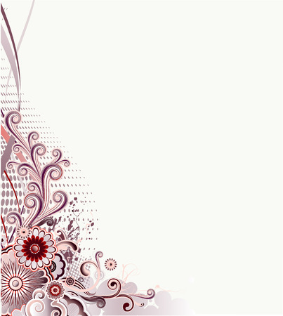 Vector illustration of urban retro styled design made of floral and ornamental elements. Vector