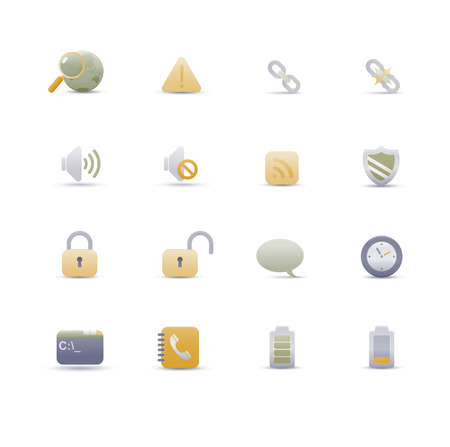 Vector illustration – set of elegant simple icons for common computer functions Stock Vector - 4907026