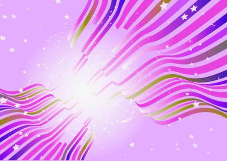 Vector illustration of wavy curved lines on pink background with burst of stars Vector