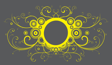 interlace: Vector illustration of abstract frame made of floral elements, funky circles  and curve lines