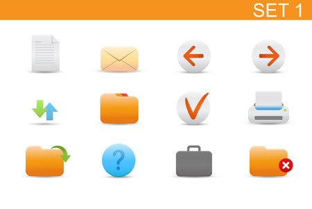 Vector illustration � set of elegant simple icons for common computer functions. Set-1 Stock Vector - 4907014