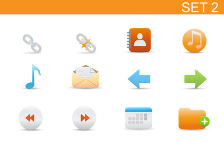 Vector illustration � set of elegant simple icons for common computer functions. Set-2 Vector