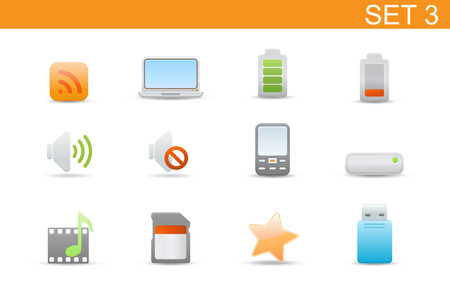 Vector illustration � set of elegant simple icons for common computer and media devices functions.Set-3 Vector