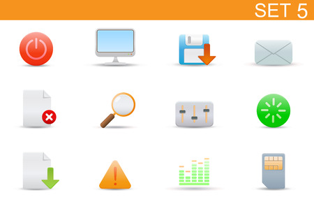Vector illustration � set of elegant simple icons for common computer and media devices functions. Set-5 Stock Vector - 4907055
