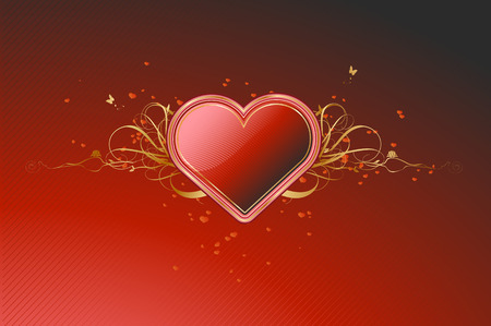 Vector illustration of shiny red heart shape with floral decoration elements Vector