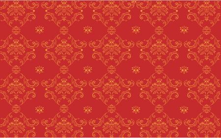 Vector illustration of red elegant Victorian retro motif wallpaper Pattern Vector