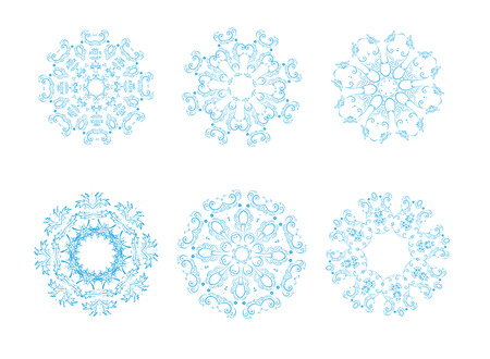 Vector illustration of icon set of 6 different snowflakes. Set-2 Vector