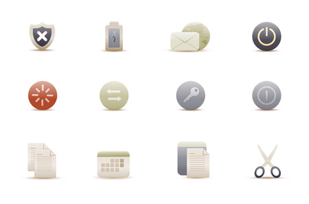 Vector illustration – set of elegant simple icons for common computer functions Stock Vector - 4907019