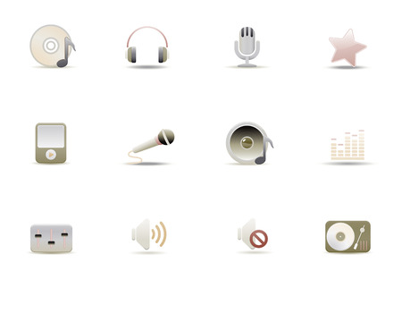 Vector illustration � set of elegant simple icons for common digital music media Stock Vector - 4907059