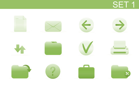 Vector illustration – set of elegant simple icons for common computer functions. Set-1 Stock Vector - 4907015