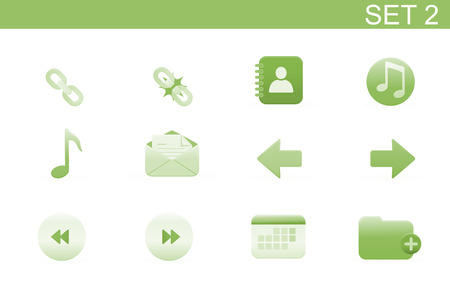 Vector illustration – set of elegant simple icons for common computer functions. Set-2 Stock Vector - 4907017
